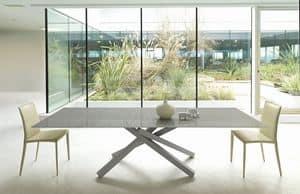 Pechino A, Tavolo allungabile in metallo, piano in legno o vetro