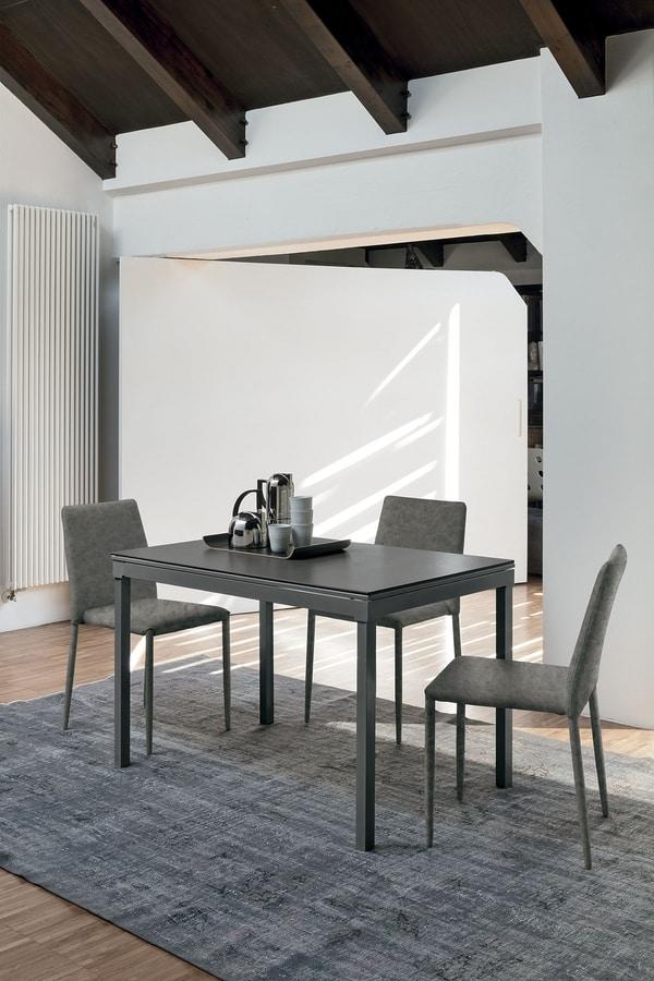 PERIGEO 115 TA161, Tavolo allungabile con base in metallo, piano in laminato, in stile moderno