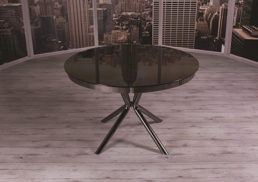 Tavolo da pranzo rotondo ed allungabile con prolunga for Tavoli da pranzo allungabili di design
