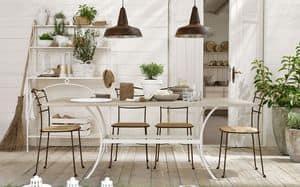 Prado tavolo, Tavolo in ferro sagomato, piano allungabile in legno