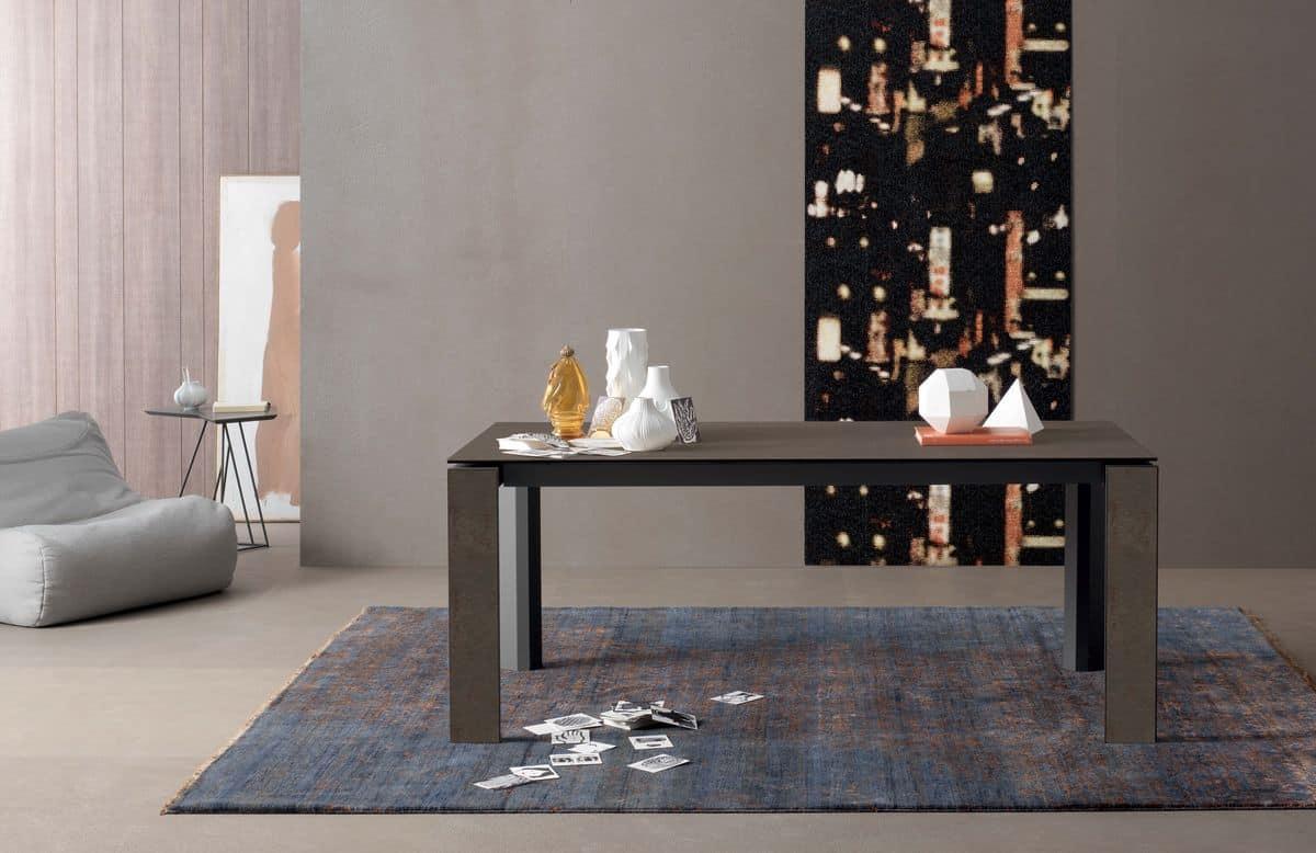 Tavolo rettangolare allungabile in legno per cucine idfdesign