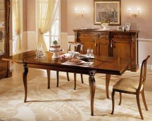 REGINA NOCE / Tavolo rettangolare allungabile, Tavolo allungabile in legno, per Sale da pranzo classiche