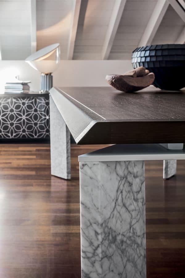 ROMA, Tavolo fisso in legno o marmo, con top in legno