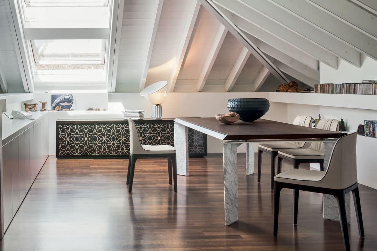 Tavoli estensibili in legno base in marmo sale da pranzo for Tavoli contemporaneo design