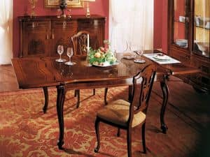 ROYAL NOCE / Tavolo allungabile, Tavolo quadrato classico con prolunga, per sale da pranzo