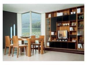 Soggiorno 2, Tavolo legno con prolunga, libreria modulare con porta tv, per l'arredo del salotto