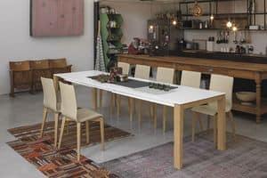 SOLE 140 WOOD TA180, Tavolo con gambe in massello, con piano allungabile, per la casa