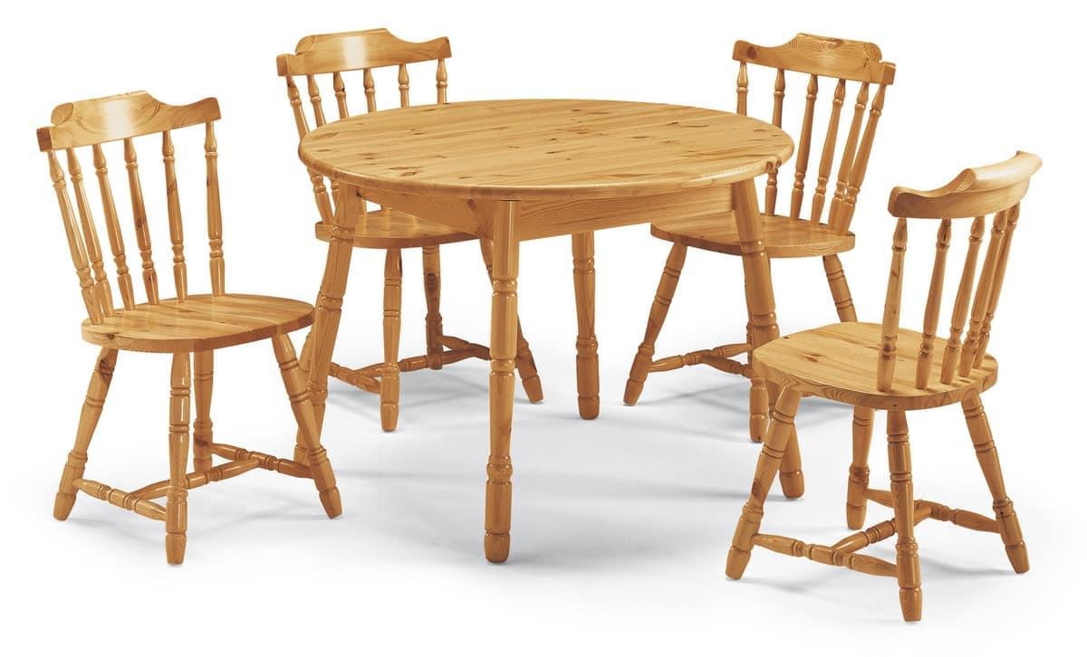 Tavolo rotondo allungabile, in pino, in stile rustico ...