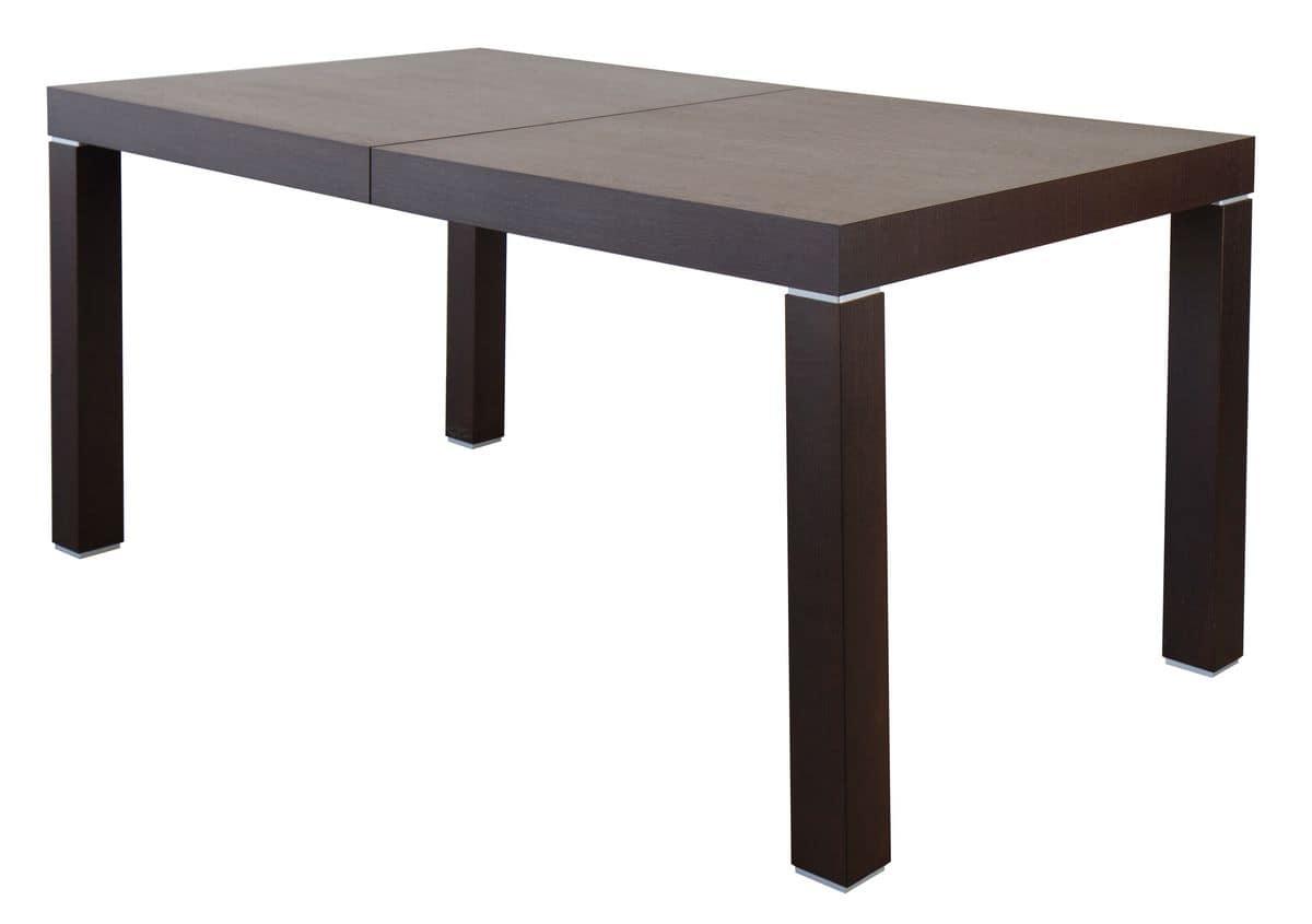 Tavolo rettangolare allungabile in legno con inserti metallici idfdesign - Tavoli allungabili in legno ...