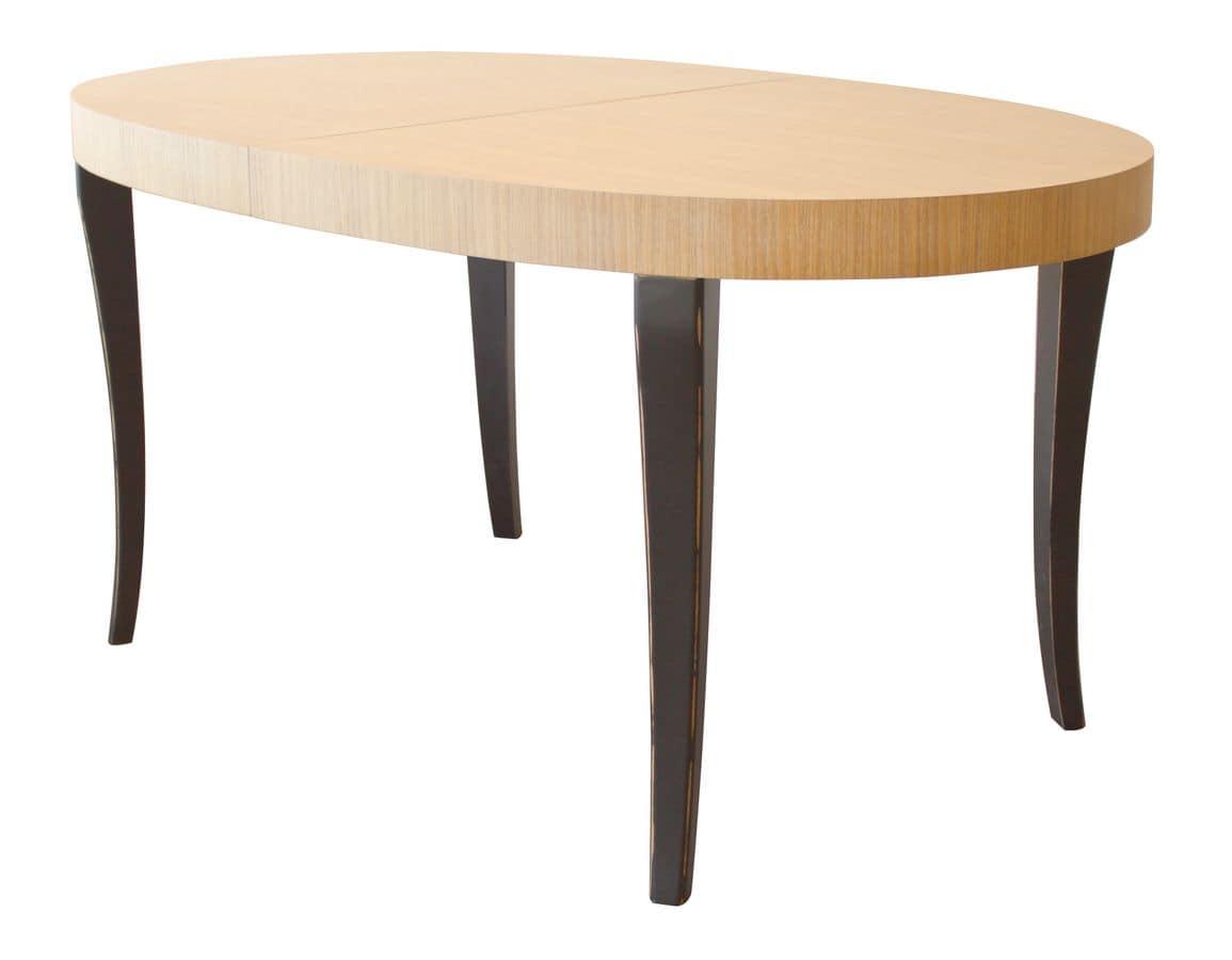 Tavolo ovale allungabile bicromo gambe in faggio e piano for Tavoli moderni design allungabili