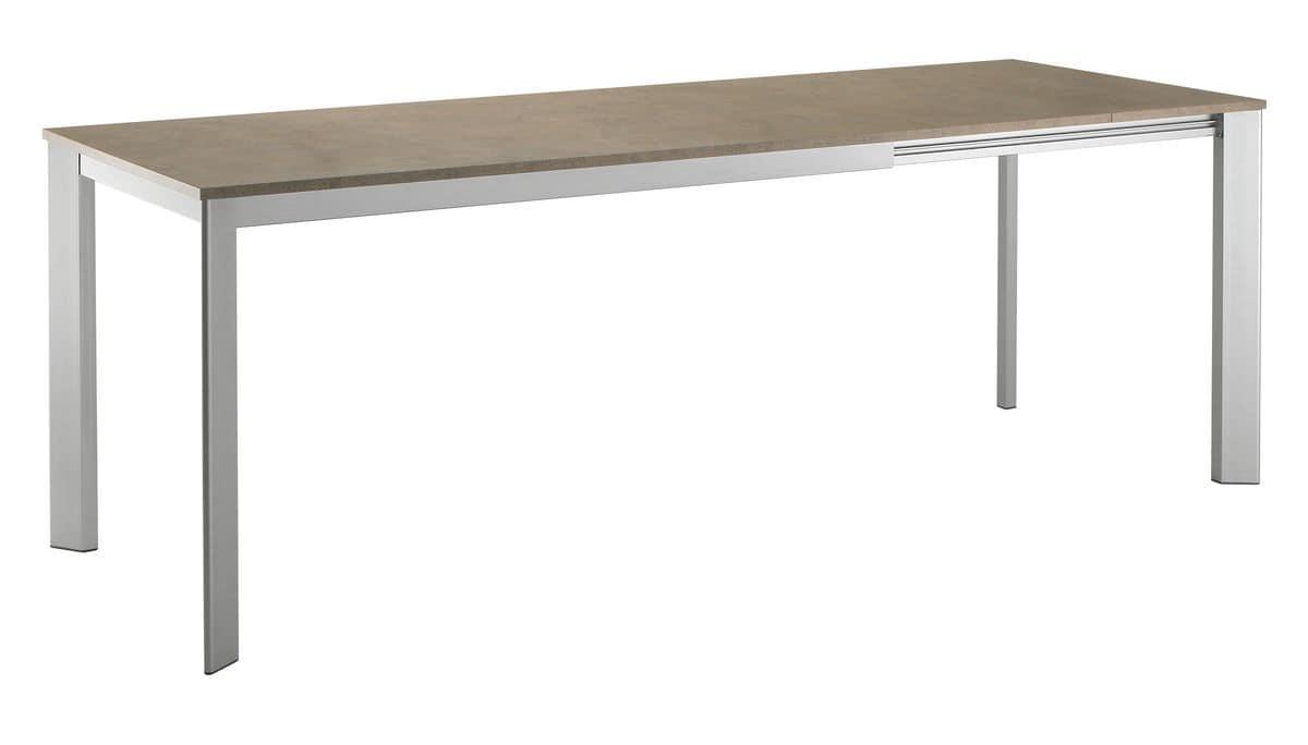 TA17, Tavolo rettangolare allungabile con base in alluminio e piano in laminato