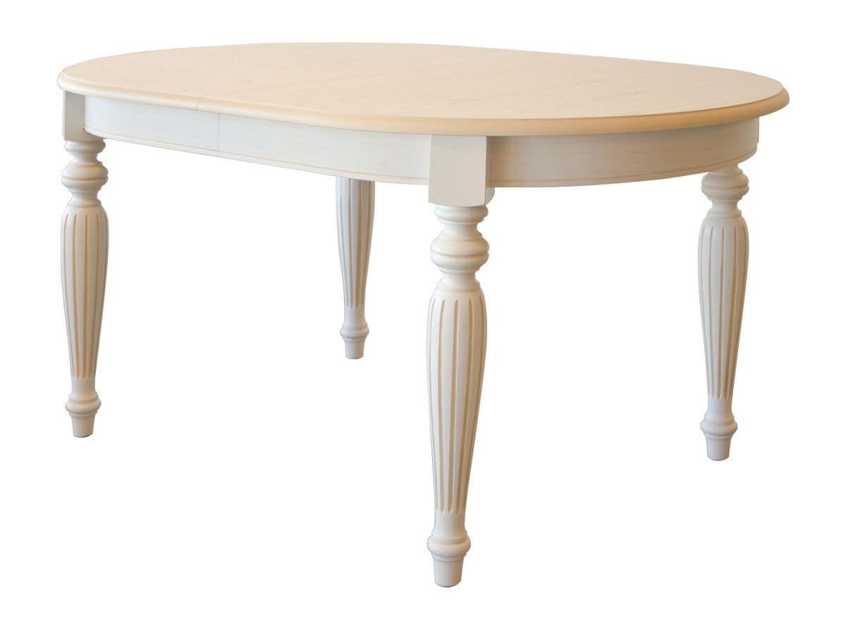 Tavolo allungabile ovale piano impiallacciato frassino for Tavolo legno frassino