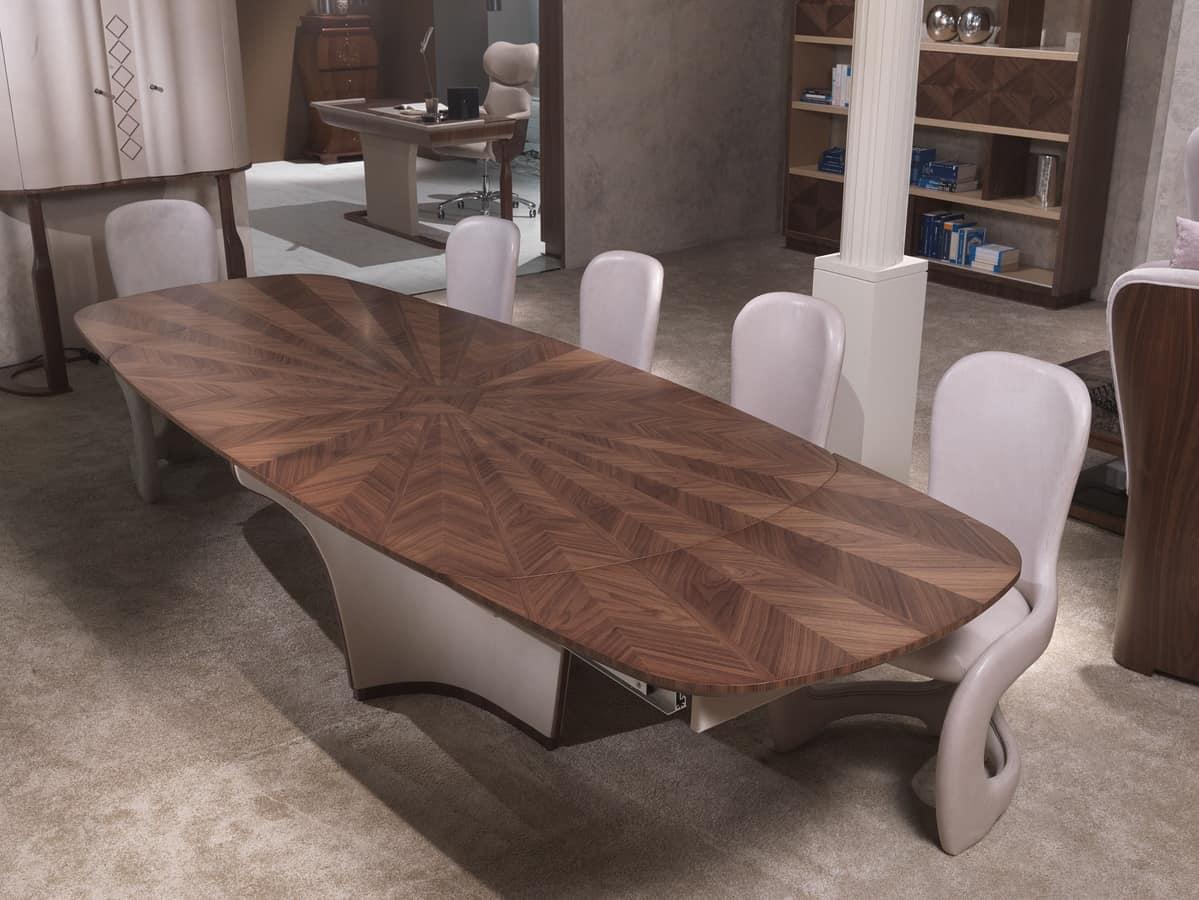Tavolo allungabile, in legno intarsiato, per soggiorni | IDFdesign