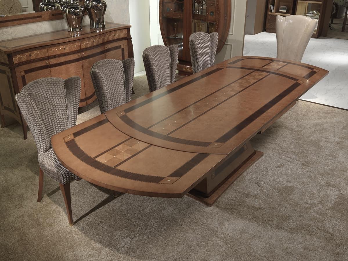 Tavolo allungabile in legno intarsiato per ristoranti for Tavolo legno intarsiato