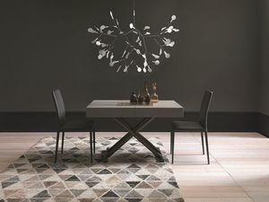 Ulisse, Tavolino trasformabile e regolabile, piano in legno