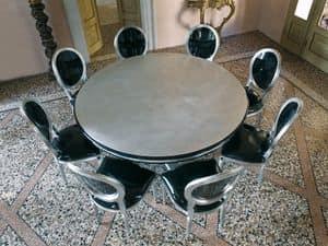 VANITY table, Tavolo tondo con struttura portante centrale, stile classico