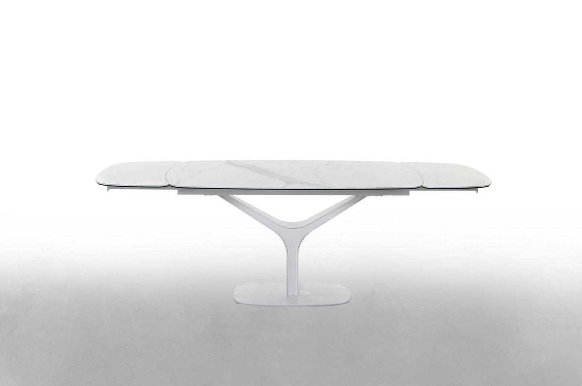 ARISTON, Tavolo allungabile o fisso, con top in vetro o ceramica