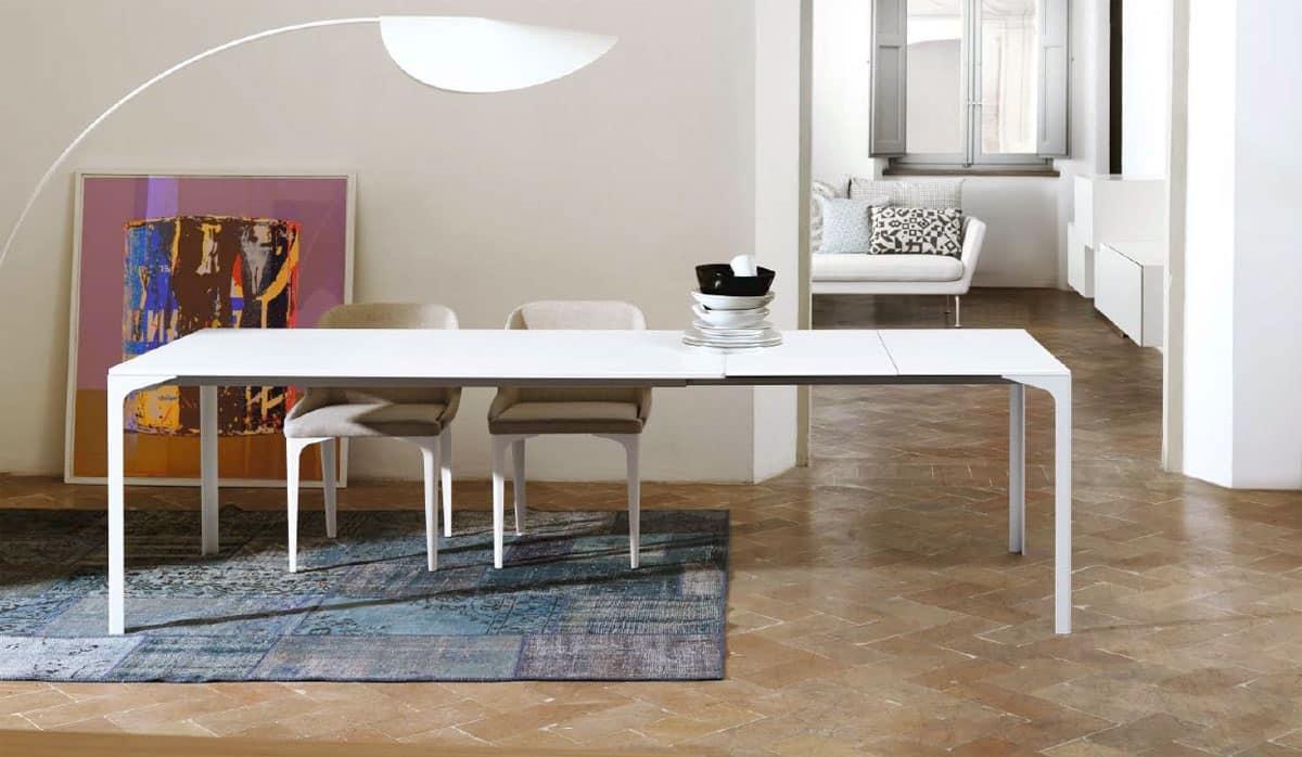 Tavolo con struttura metallica per cucina moderna idfdesign - Tavolo per cucina moderna ...