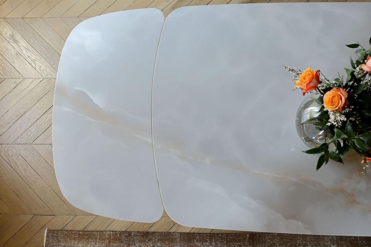 CALLIOPE, Tavolo allungabile o fisso, con top in vetro o ceramica