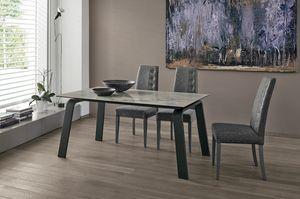 DEIMOS 160 TA190, Tavolo allungabile dal design moderno, disponibile in varie combinazioni di materiali