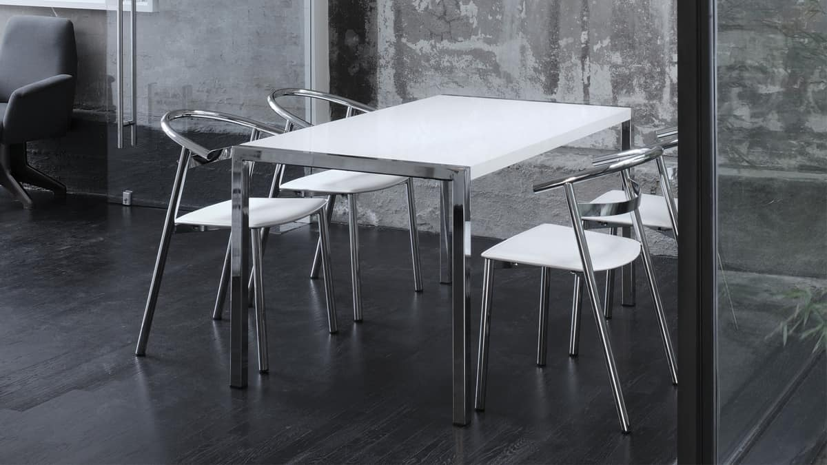 Tavolo allungabile con struttura in acciaio stile for Tavoli allungabili milano