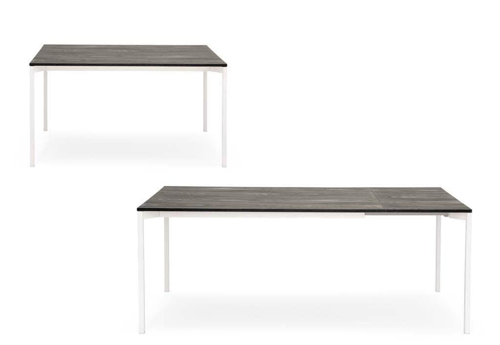 Tavolo salvaspazio in metallo laccato piano in melaminico for Amazon tavoli allungabili