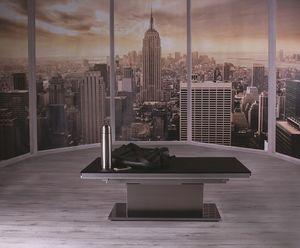 Ares Glass, Tavolo regolabile in altezza con piano in vetro