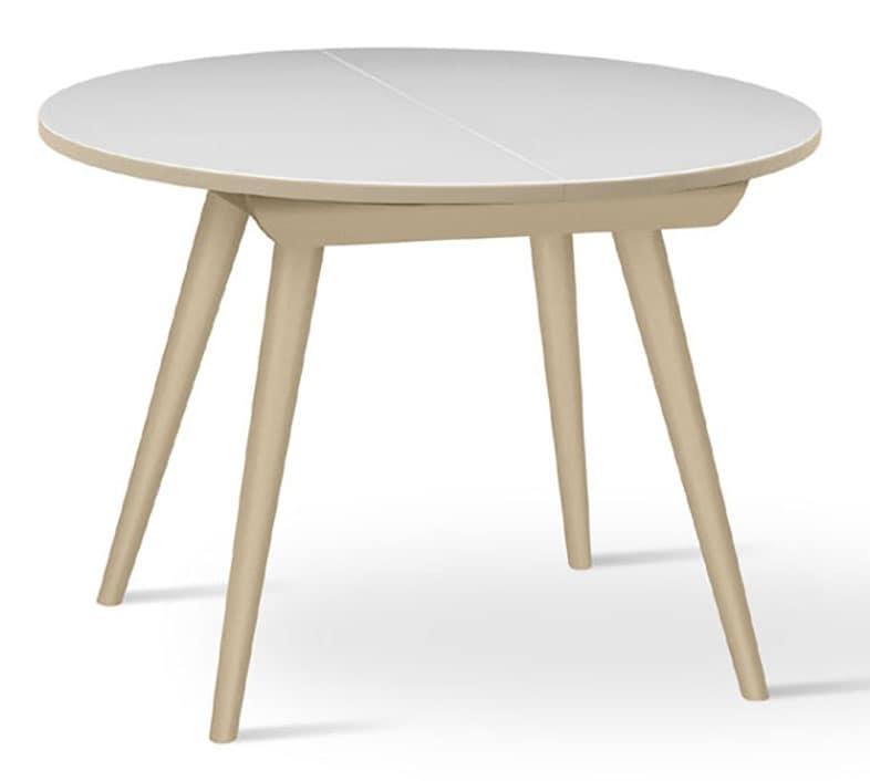 Tavolo tondo in faggio massiccio, allungabile, per cucina | IDFdesign