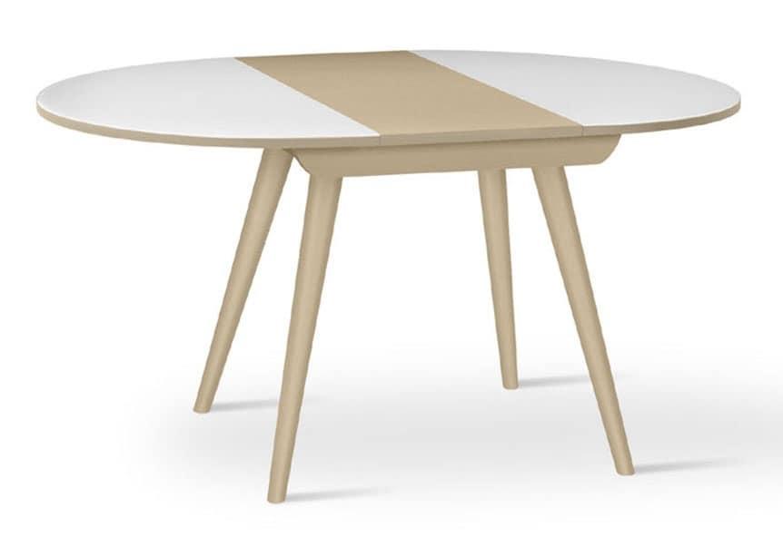 Tavolo tondo in faggio massiccio allungabile per cucina - Dimensioni tavolo tondo 4 persone ...