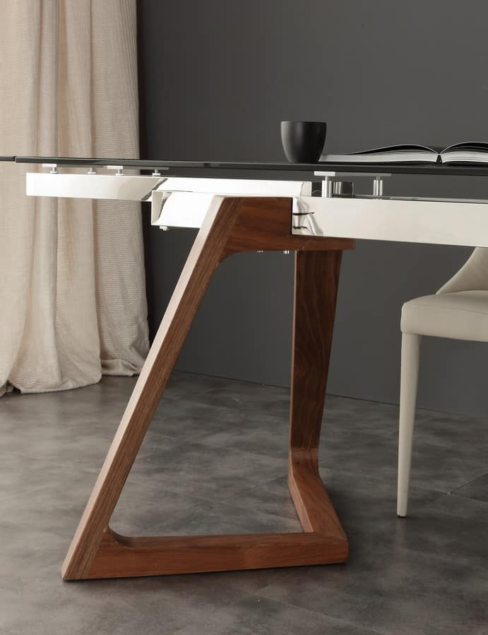 Tavolo con piano in vetro allungabile idfdesign for Tavolo vetro allungabile amazon