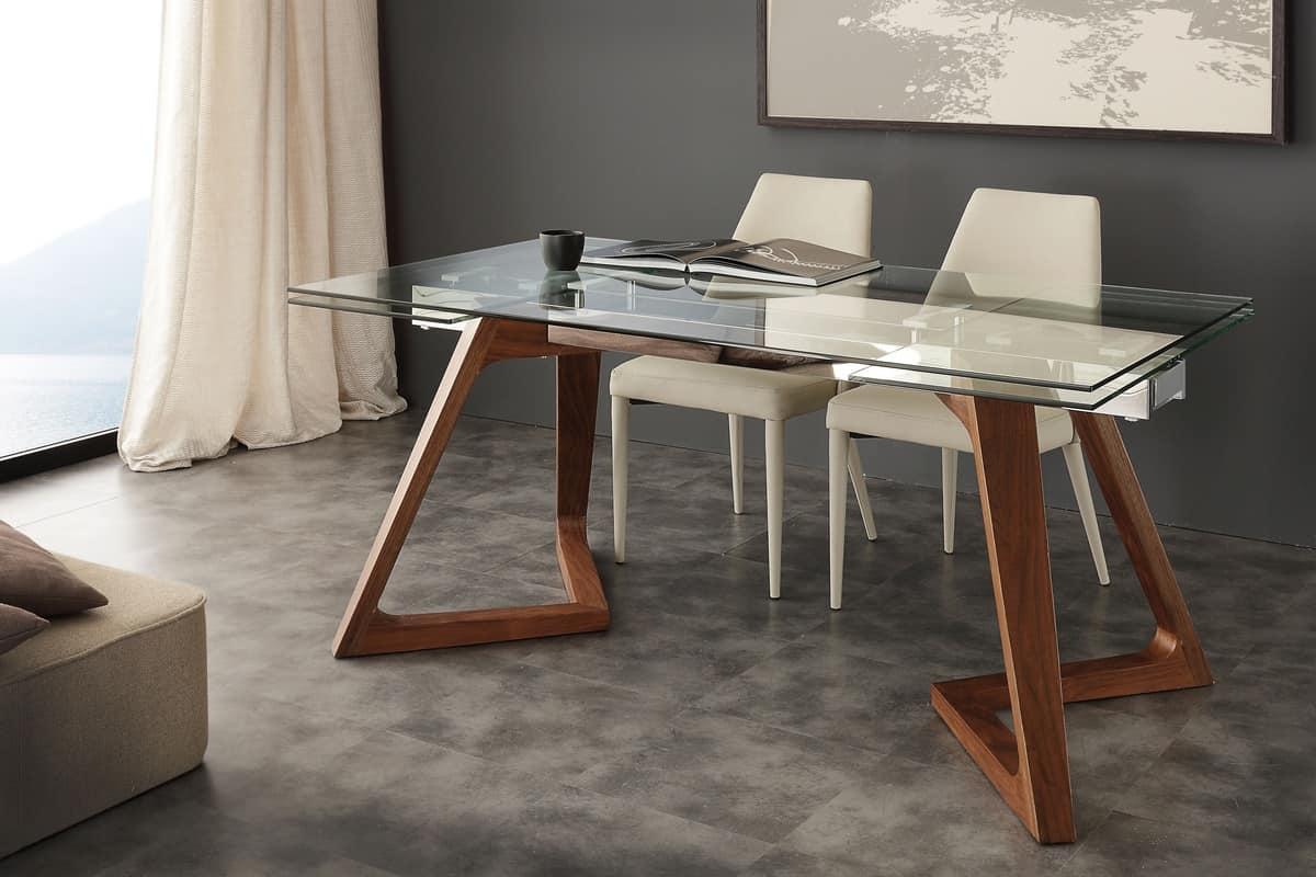 Tavolo con piano in vetro allungabile idfdesign for Tavoli in legno allungabili