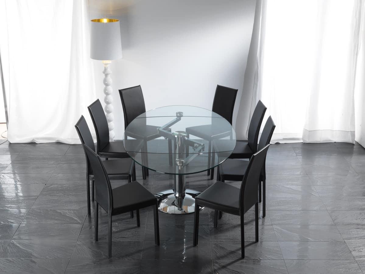 Tavolo ellittico in vetro con base in metallo cromato idfdesign