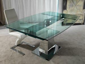 Art. 658 Enterprise, Tavolo in acciaio e cristallo, con allunghe sincronizzate