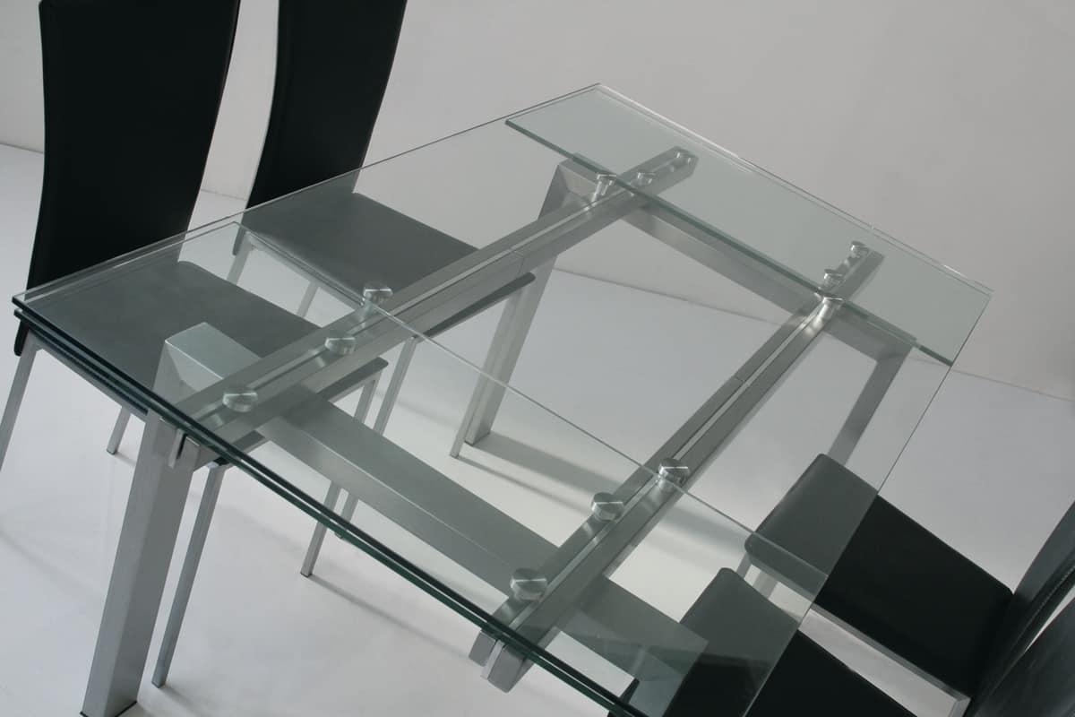 Tavolo allungabile piano e allunghe in vetro temperato for Tavolo allungabile vetro trasparente