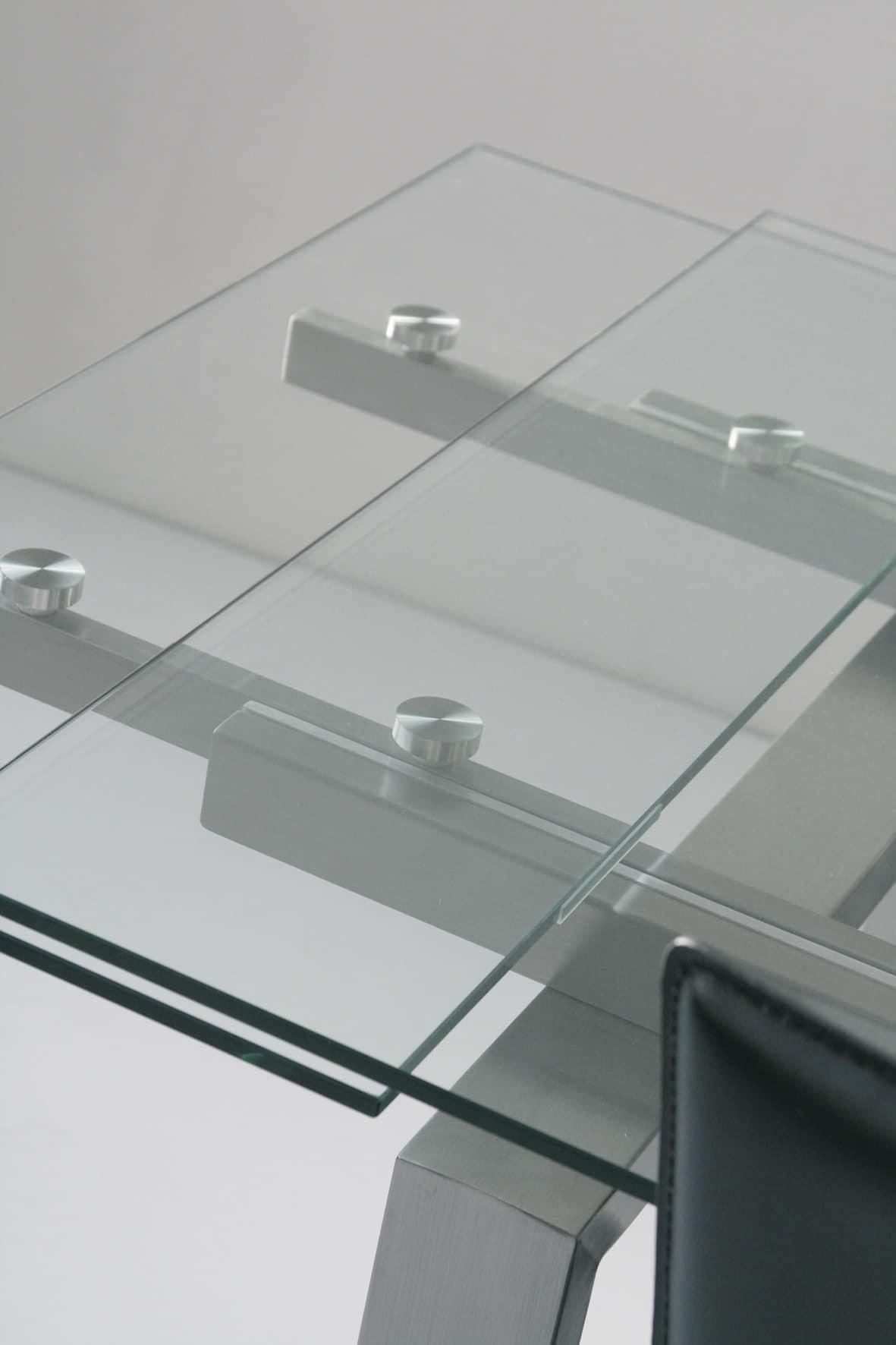 Art. 671 New York, Tavolo allungabile, piano e allunghe in vetro temperato trasparente