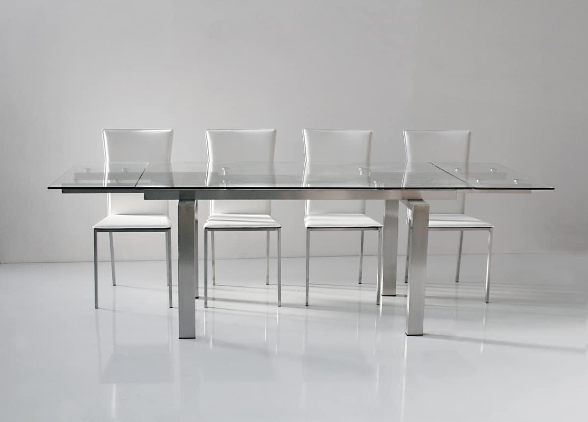 Tavolo allungabile, piano e allunghe in vetro temperato trasparente ...