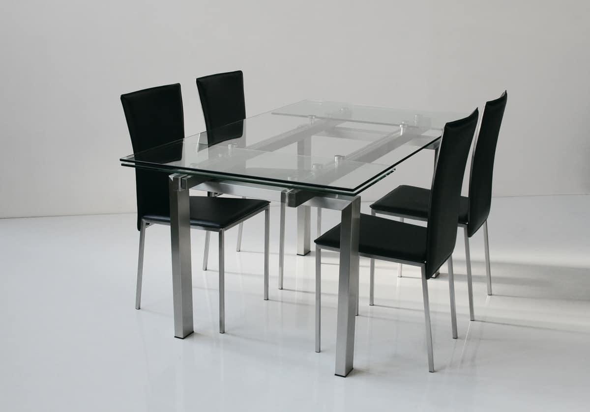 Tavolo allungabile piano e allunghe in vetro temperato - Piano tavolo vetro ...