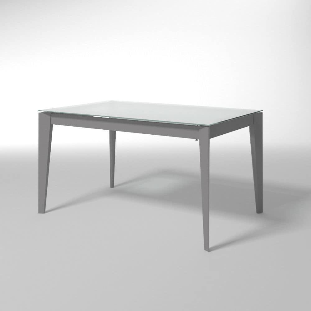 Tavolo allungabile in acciaio e vetro per cucine moderne - Tavoli cucina allungabili moderni ...