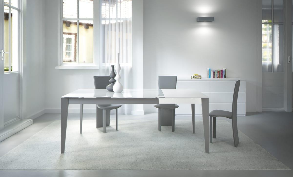 Astro, Tavolo allungabile in acciaio e vetro per cucine moderne
