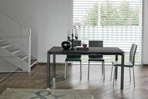 AURIGA 110 TA115, Tavolo in metallo con piano in vetro adatto per cucina moderna