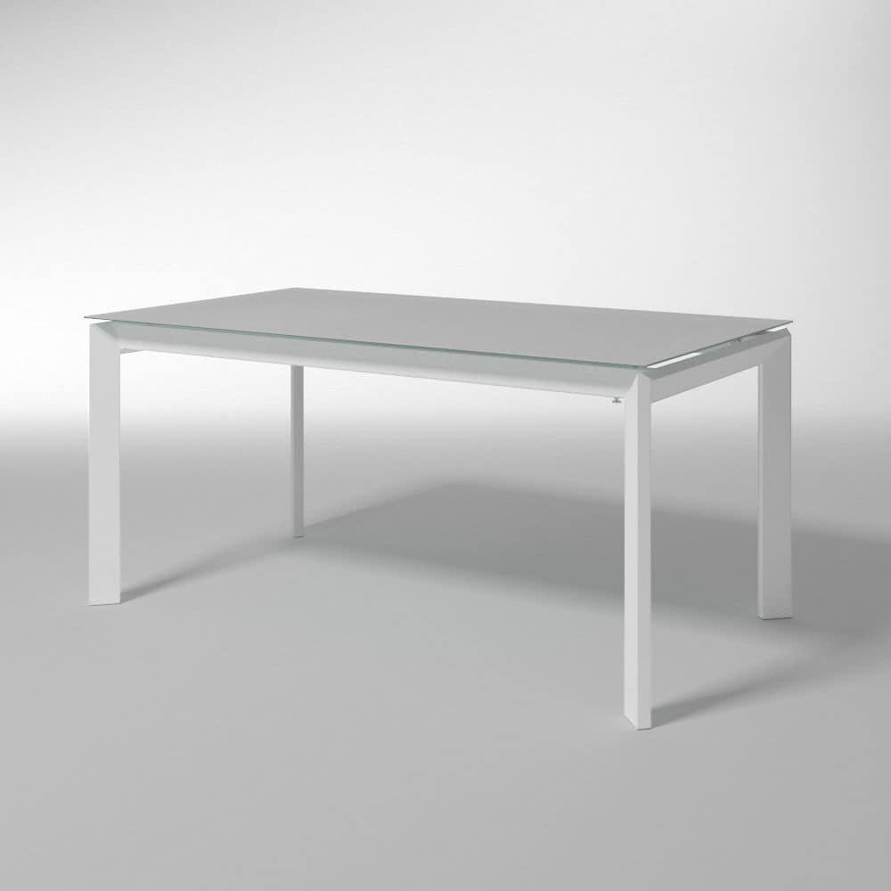 Tavolo estensibile con piano in vetro temperato per cucine for Piani moderni in vetro