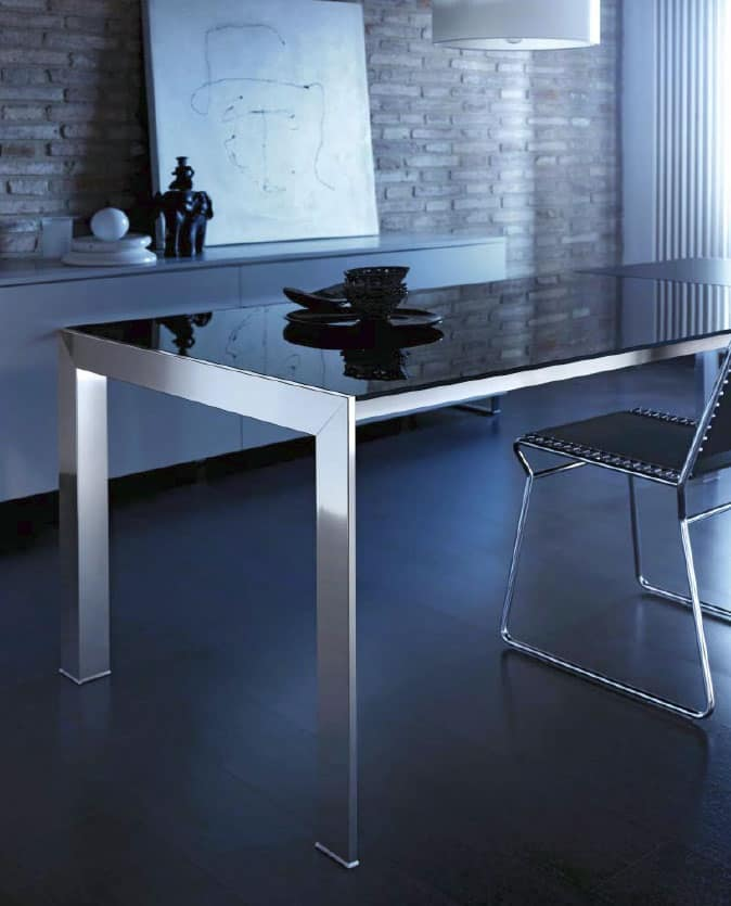 Tavolo rettangolare estensibile in alluminio e vetro for Tavolo estensibile