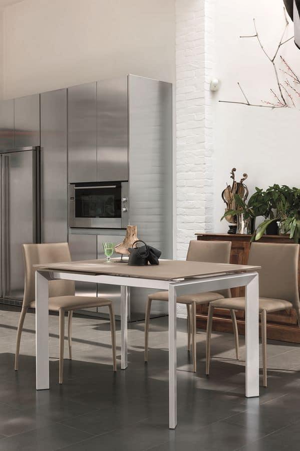 CENTAURO 110 TA172, Tavolo moderno con piano in vetro temperato ideale per cucine moderne