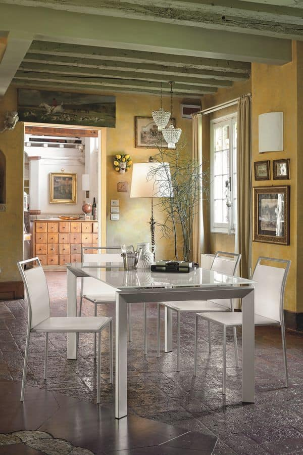 CENTAURO 140 TA174, Tavolo da pranzo allungabile in vetro e metallo