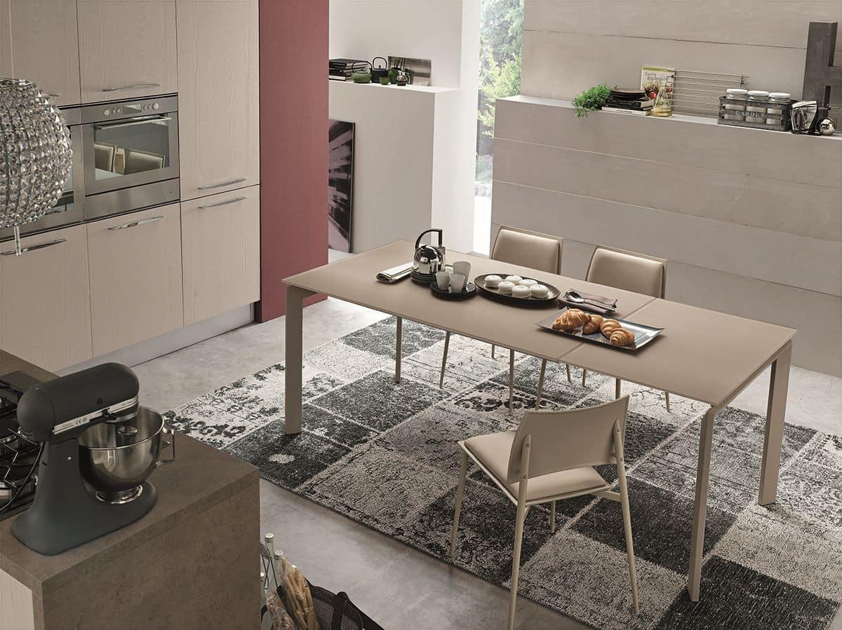 TA174 Tavolo Allungabile In Vetro E Metallo Ideale Per Sale Da Pranzo #4D5E3D 1200 899 Quanto è Alto Un Tavolo Da Pranzo