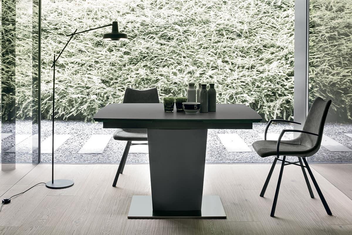Tavolo allungabile moderno con piano ed allunghe in vetro for Tavoli estensibili