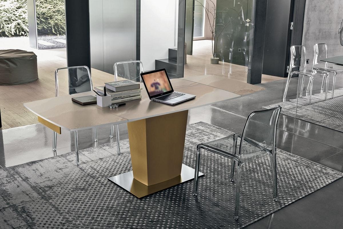 Tavolo allungabile moderno con piano ed allunghe in vetro idfdesign - Runner da tavolo moderno ...