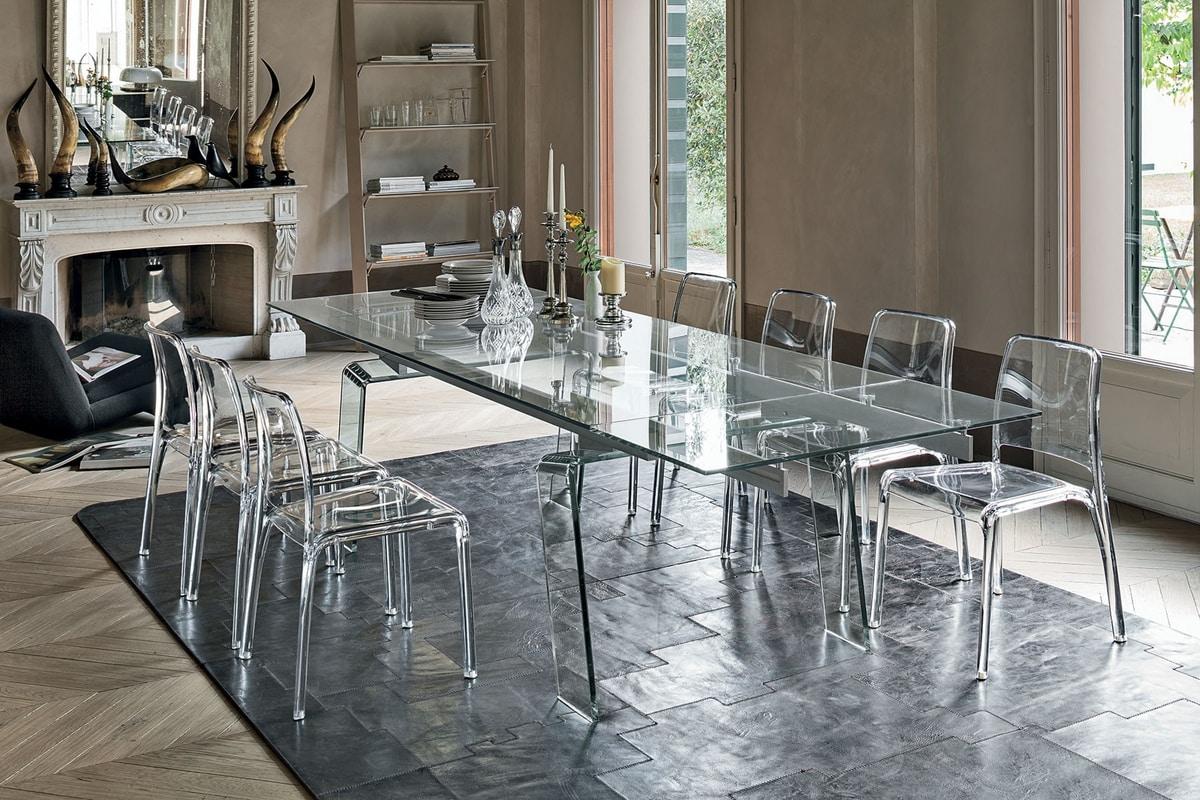 Tavolo allungabile completamente trasparente alluminio e for Tavoli in cristallo allungabili