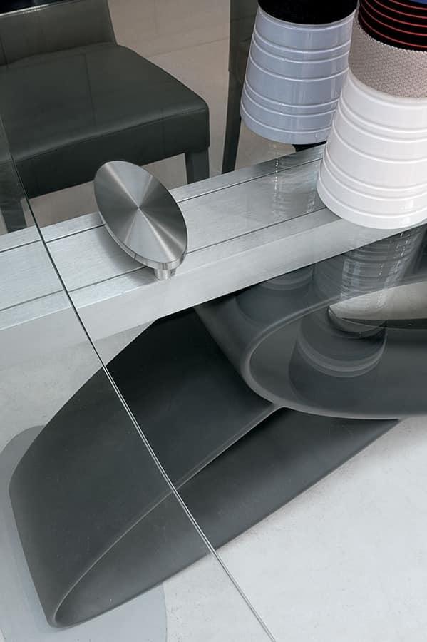 ECLIPSE TA400, Tavolo allungabile con piano in vetro per sale da pranzo