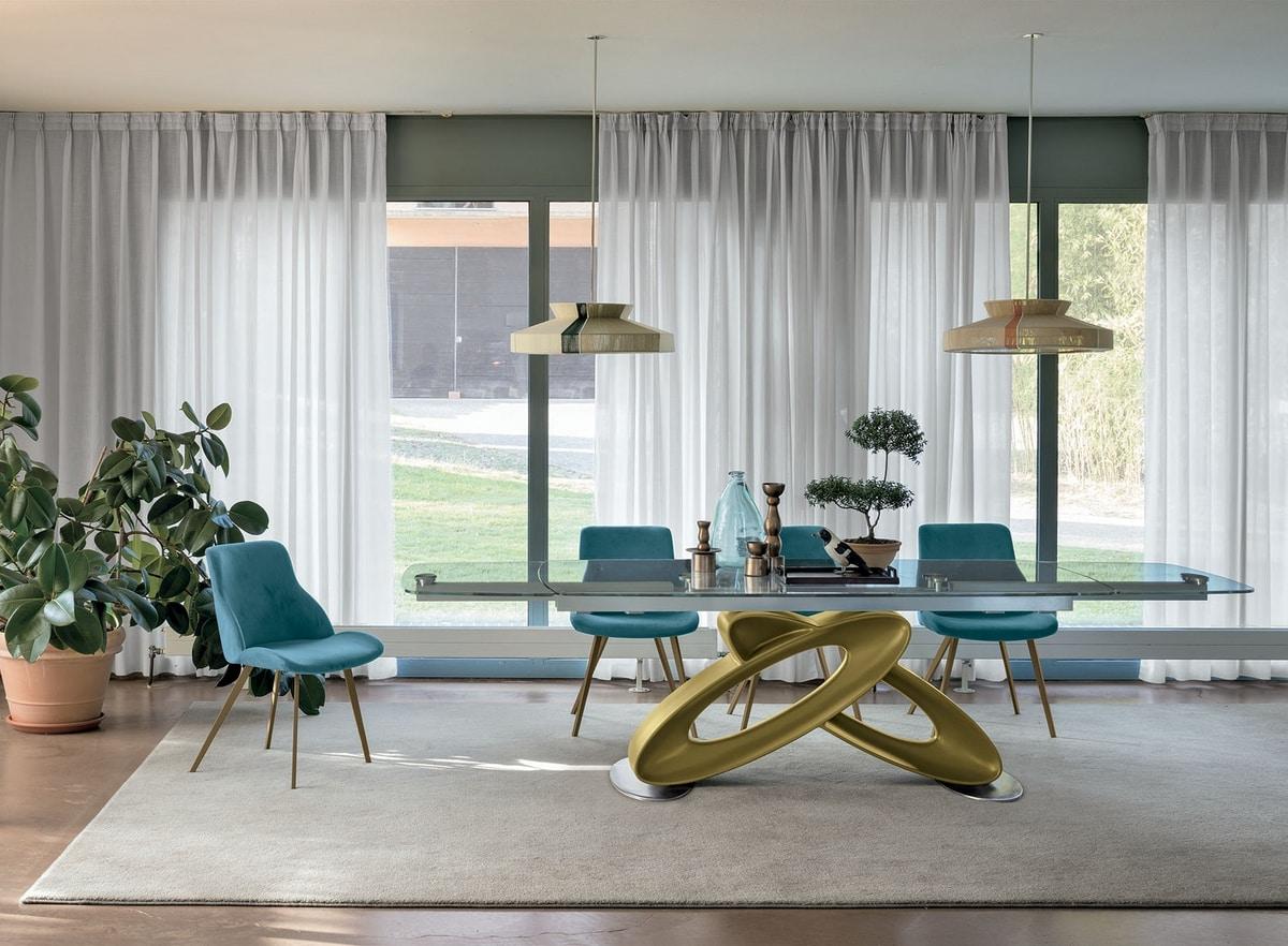 Tavolo allungabile con piano in vetro per sale da pranzo for Tavoli da sala da pranzo moderni